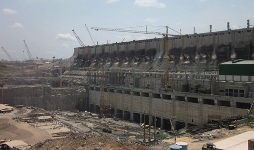 Photo of a hydropower dam under construction