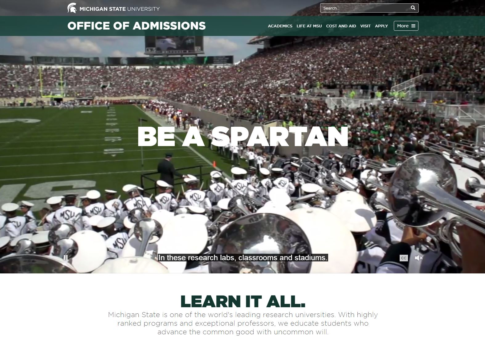 MSU Office of Admissions Screen